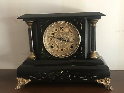 Victorian American Antique Wooden Mantle Clock