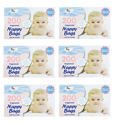 1000/1Disposable Baby Nappy Bags Fragranced Nappy Sacks Hygienic Sack Tie Handle