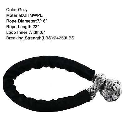 "7/16"" Soft Shackle 24250LBS Breaking Strength UHMWPE Rope Tow Recovery Strap CA"