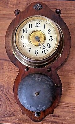 """antique Junghans mahogany backed alarm wall clock-8 day movt. part working 12"""""""