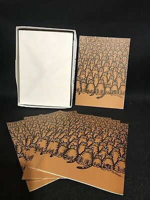 Vintage B Kliban cat Blank cards crowd of orange cats set of 8