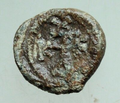 Ancient Byzantine Lead Seal D=18mm 6gr Cross monogram Emperor