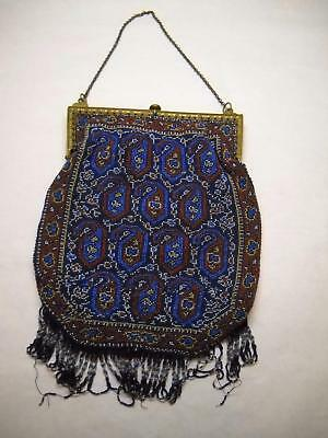 VINTAGE French BEADED Bag BLUE Red YELLOW Geometric DESIGN Brass CLOSURE