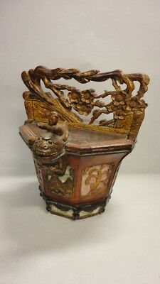 VINTAGE ORNATE HAND CARVED ASIAN WATER BUCKET WATER PAIL Dragon Fish