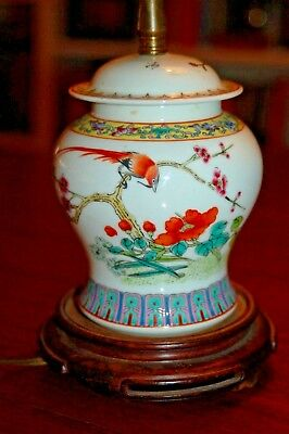 Antique Ginger Jar Electric Lamp Chinese Porcelain Hand Painted Small