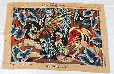 Vintage Beautiful Cock Bird Cross Stitch Scenery tapestry 88x130cm T79