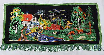 Vintage French Beautiful Hand Embroidered Tapestry Wall Hanging 50x113cm T72