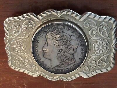 VINTAGE BELT BUCKLE w/GENUINE 1921 MORGAN SILVER DOLLAR