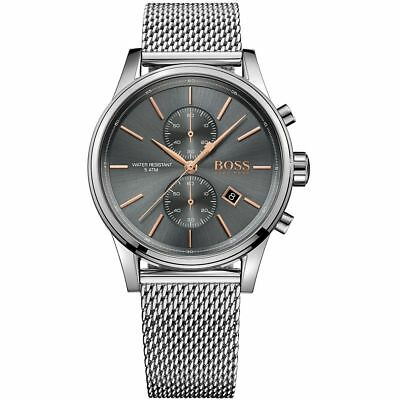 New Mens Hugo Boss Jet Silver Mesh Chronograph Strap Watch Water Resistant UK