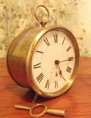 Antique carriage brass alarm bell drum clock working order.