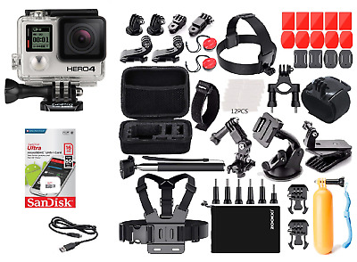GoPro HERO 4 Silver Camera + Carry Case Sports Accessory Kit Bundle (40+ PCS)