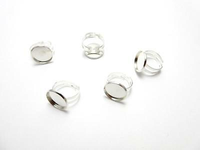 Silver plated adjustable round ring blank setting fits 16 mm for cabochon resin