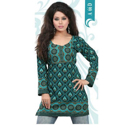Printed Design 3//4 Sleeves women Crape Kurti Tunic tops With Gold Foil 1902-34