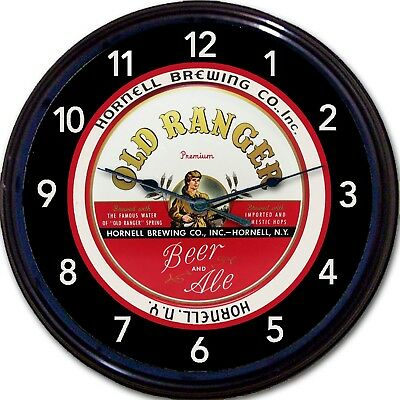 Old Ranger Hornell NY Beer Tray Wall Clock Hornell Brewing Co Ale Man Cave New
