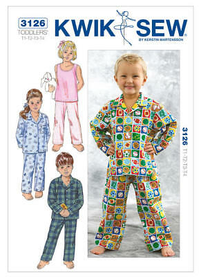 Kwik Sew Sewing Pattern 3126 Toddlers 1-4 Sleepwear Pajamas PJs Tank Top Pants