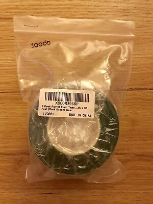 3 Pack Florist Stem Tape 1/ 2 Inch x 90 Feet (Dark Green)