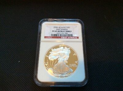 2006 W PF69 ULTRA CAMEO FIRST STRIKES 1oz AMERICAN SILVER EAGLE COIN NGC GRADED