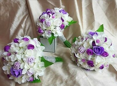 Set of 3 purple and lavender   bridesmaid bouquets with ivory   hydragena bundle