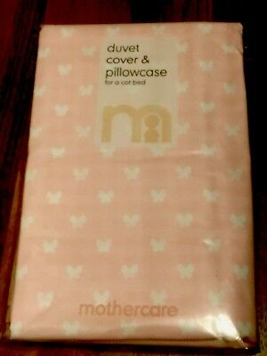 Mothercare duvet cover and pillowcase set cot bed bnwt Pink Butterfly