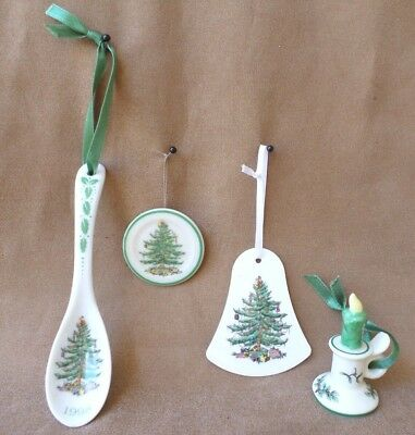4 Mini Spode Christmas Tree Ornaments Plate, Bell, Spoon 1998, Candle & Holder