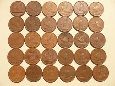 Lot of 30 Irish Animal One Penny Coins of Ireland - hens with chicks