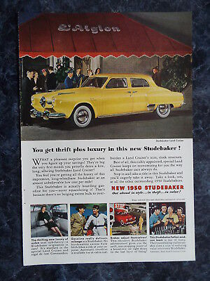"""Studebaker - """" You get thrift plus luxury """" Vintage Ad of 1950's #13"""
