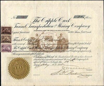 Cripple Creek Tunnel, Transportation And Mining Co, 1898, Uncancelled, Stock Cft