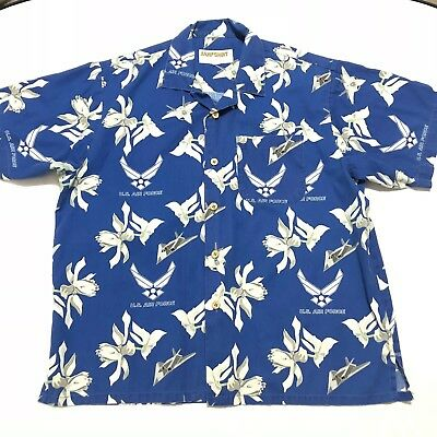 16640d45 Air Force Logo U.S. Military Plane Eagle Crest Tropical Blue Kamp Camp Shirt  XL
