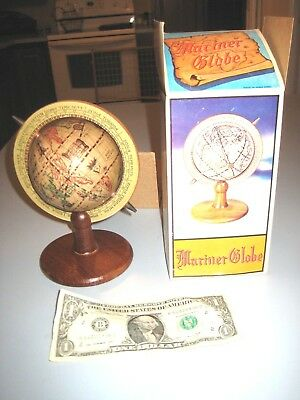 Mariner Globe / Old World Globe - Vintage 7 Inch Tall Wood Base New old stock