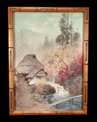 Vintage Japanese Spring Landscape Watercolor Painting Fukutaro Terauchi Japan