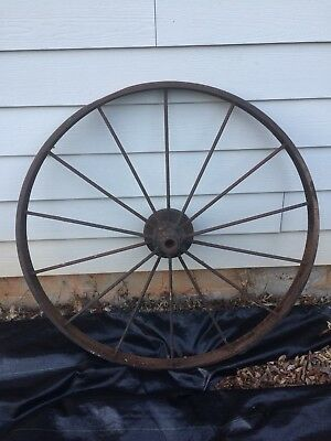 Large Antique Metal Wheel Vintage Yard Decoration
