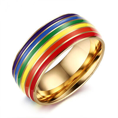 Rainbow Wedding Band 316L Stainless Steel Men's Womens Gold Plating Ring Sz 7-12