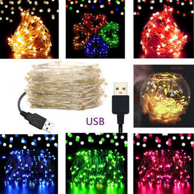 5/10M USB LED Copper Wire String Fairy Light Strip Lamp Xmas Party Waterproof OU