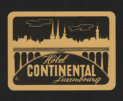 """OPC Vintage Hotel Continental Luxembourg 4"""" Label MNH"""