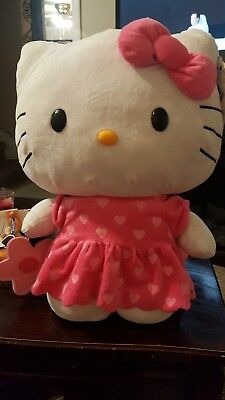 """Huge 20"""" Sanrio Hello Kitty Plush pink hearts on her dress and pink flower purse"""