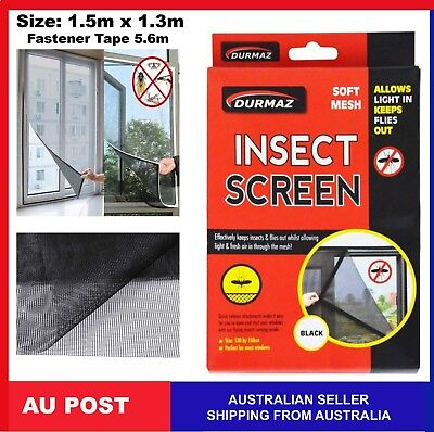 Flyscreen Anti Insect Flywire Window Soft Mesh Fastener Tape 1.5x1.3m Fly Screen