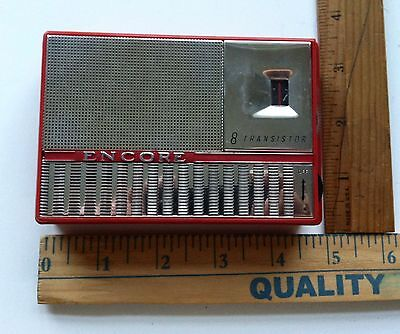 Vintage 1960's ENCORE Transistor Radio Rare Red Color LOOK & READ