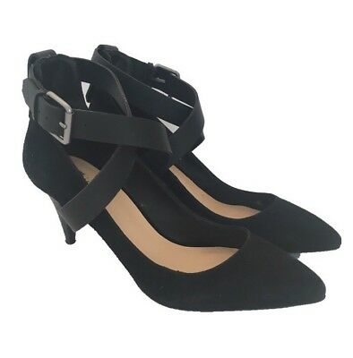 cc9fb545a39d Joes Jeans Womens Black Heels Size 7.5 M Suede Shoes Leather Ankle Strap