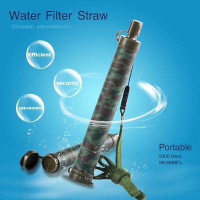Portable Water Straw Filter Purifier Survival for Outdoor Camping Hiking 1000L