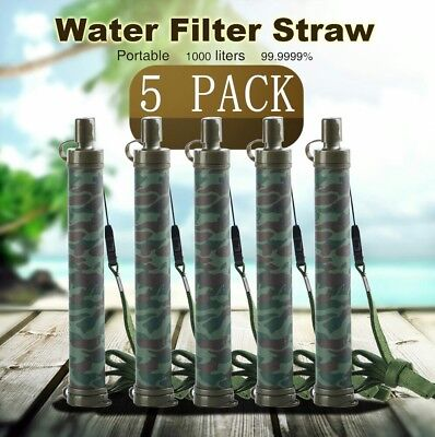5pc Camping Hiking Emergency Life Survival Portable Purifier Water Filter Straw