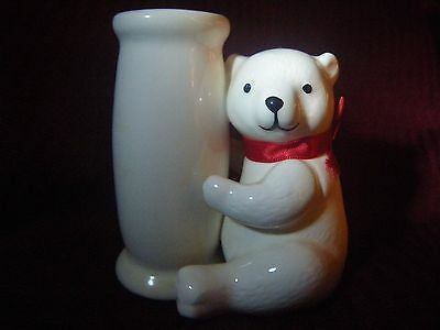 """Vintage~1986""""Applause"""" White Ceramic """"ANIMAL ON PARADE"""" Bear Taper Candle Holder"""