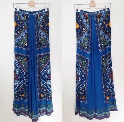 04d2114daa3 NWT Flying Tomato Palazzo Pants Size Medium Wide Leg Blue Print Boho  Festival