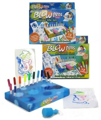 NEW Blow Pens Airbrush Art Set - 12 Colour Pens, Stencils from Mr Toys
