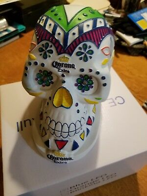 CORONA EXTRA BEER: DAY OF THE DEAD hand painted skull with lighted flashing eyes