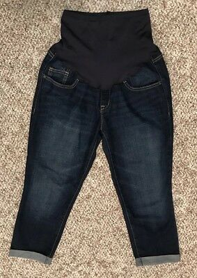 Women's Old Navy Maternity Full Panel Cuffed Capris Denim Pants Size 6