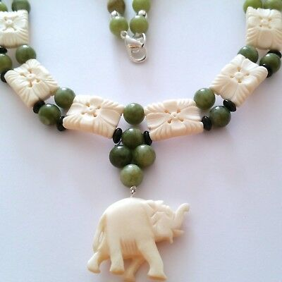 ^ 100% Natural Apple Green Jade Jadeite Necklace With Carved Elephant.