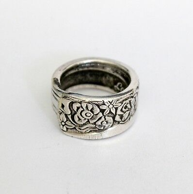 Handcrafted Silver Teaspoon Ring - Handmade Antique Vintage - Size T ½