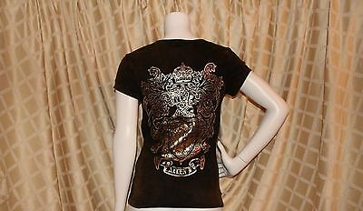 ALLEN B. :  Brown with Hint of Bronze with Gold Prints Women Top T-Shirt
