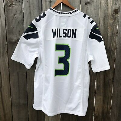 online retailer b161a ff788 NIKE SEATTLE SEAHAWKS NFL On Field Jersey Away White Russel Wilson #3 Mens M