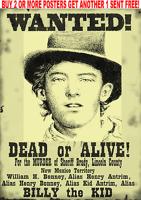 Billy The Kid Garrett Poster Old West Wanted Western New Mexico Outlaw Bank Rob